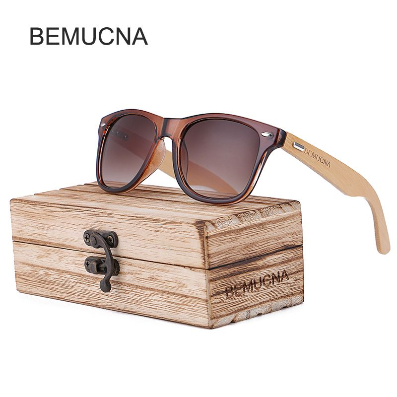 2017 New BEMUCNA Bamboo Sunglasses Men Wooden glasses Women Brand Designer Original Wood Sun Glasses Women/Men Oculos de sol