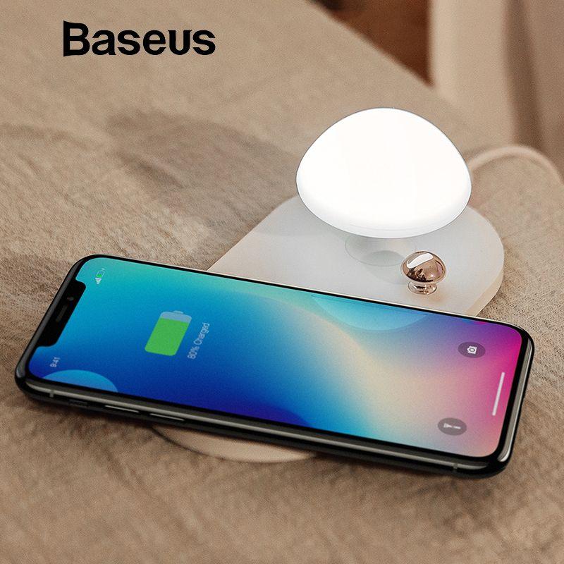 Baseus Pilz QI drahtlose ladegerät mit nacht Nacht licht 10 W wireless charging pad für iphone X 8 Samsung S9 s9 + S8 ladegerät