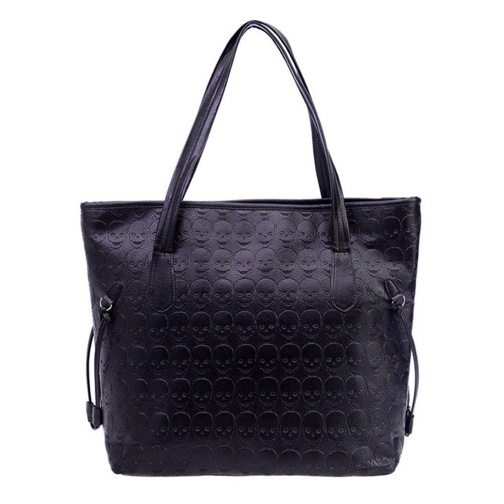 Women Shoulder Bag Fashion Handbag Retro Skull Embossing Leather Ladies Shoulder Bag Large Tote Purse Women Handbag
