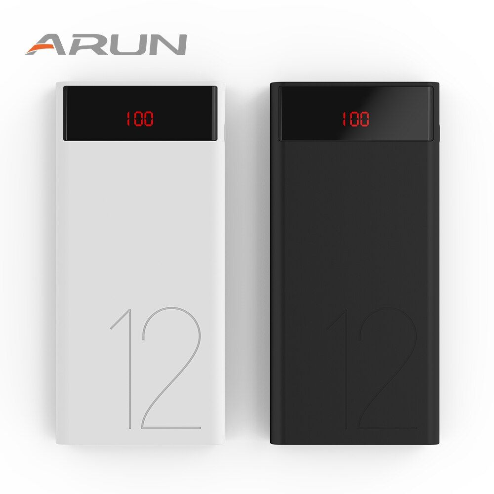 ARUN Original LCD Power Bank 12000 mAh Portable Phone Battery Charger J120 12000mAh Power-Bank For Xaiomi Mi 5