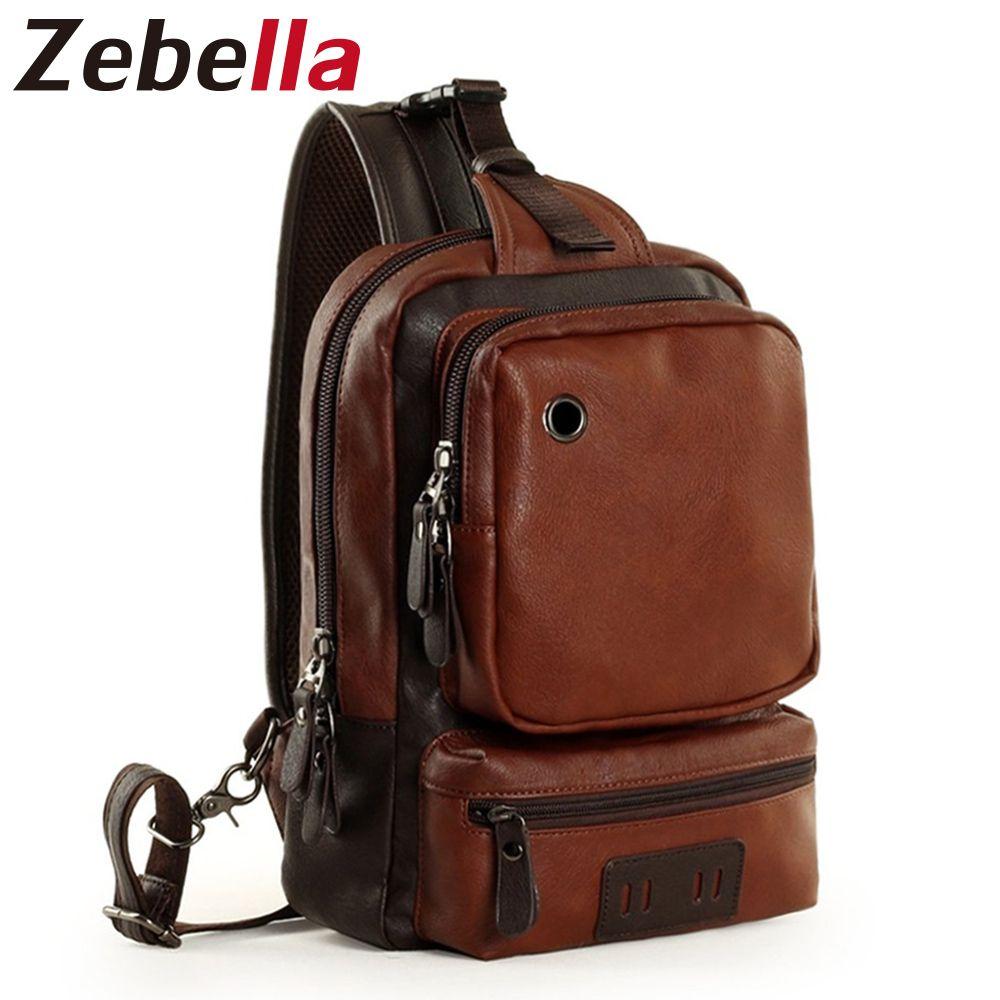 Zebella marque hommes sac à bandoulière Vintage hommes sac à bandoulière hommes poitrine sacs décontracté mode PU cuir hommes Messenger sac