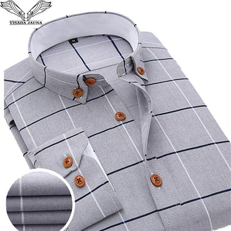 VISADA JAUNA 2017 nouveauté hommes Chemise décontracté à manches longues Plaid marque formelle vêtements affaires chemises Homme Chemise Homme N131