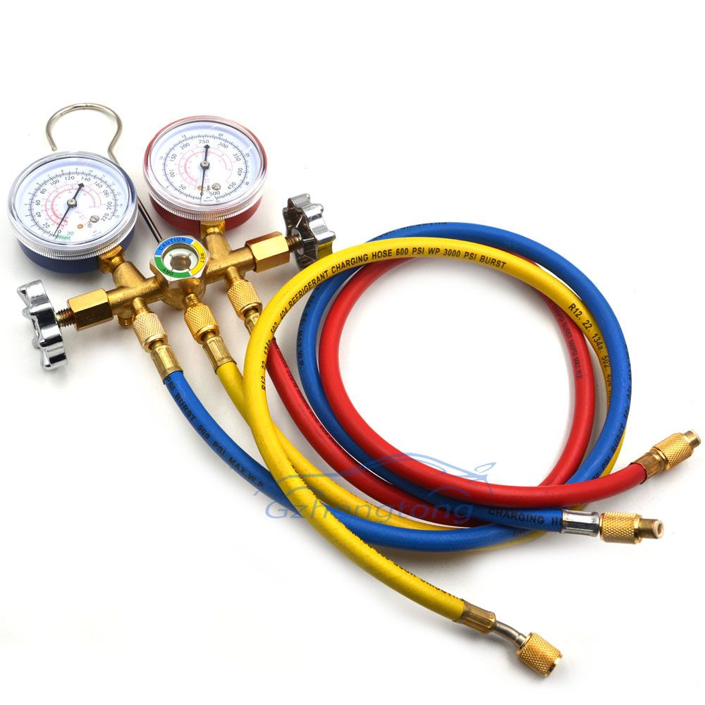 Gzhengtong 1 Set R12 R22 R502 A/C Manifold Gauge Set with Hose for Household Automobile A/C Air Conditioning Tool