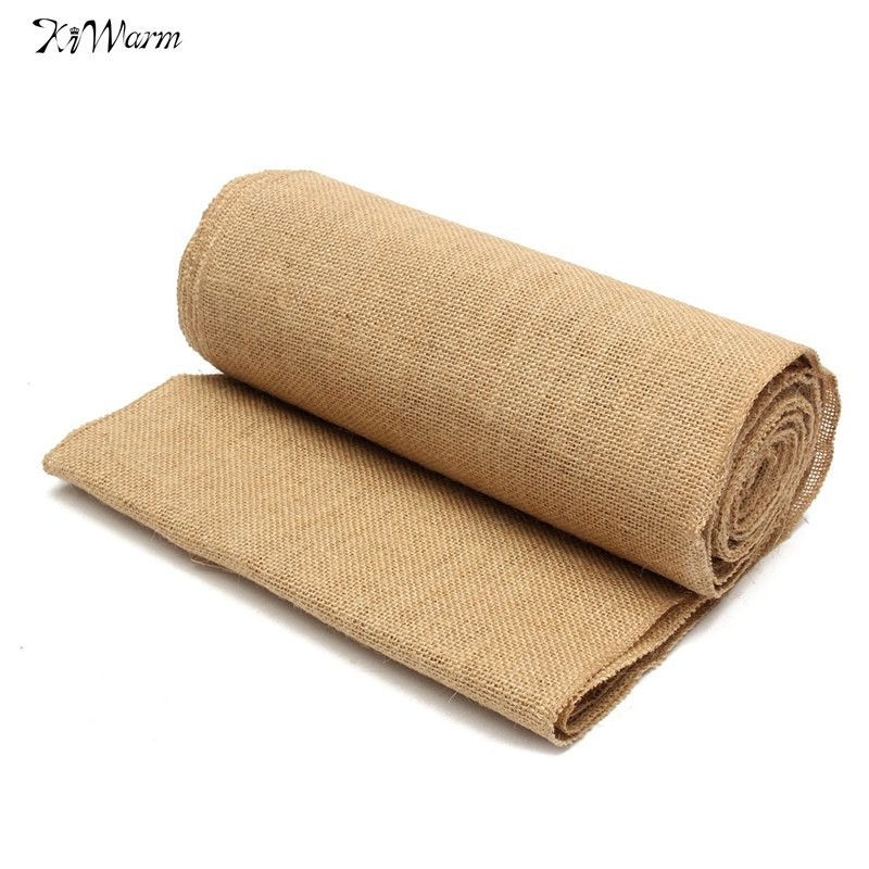 KiWarm 10mx30cm Jute Hessian Burlap Fabric Ribbon Runners Wedding Chair Party Decoration For Vintage Home Hotel Table Material