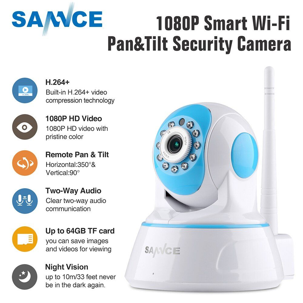 SANNCE 1080P Wireless IP Camera Home Security IP Camera Wifi Surveillance Camera IR Night CCTV Camera Baby Monitor 1920*1080