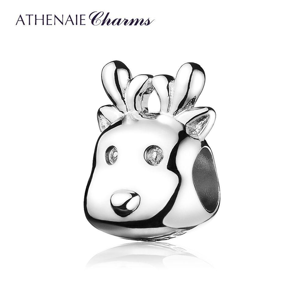 Athenaie Рождество предложения 925 стерлингового серебра прекрасный Рождество оленей из бисера Талисманы