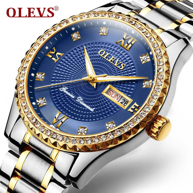 OLEVS Luxury Diamond Watch Men Calendar Week Luminous Hands Clock Male Wristwatch Metal Bracelet Watches relogio masculino 6618