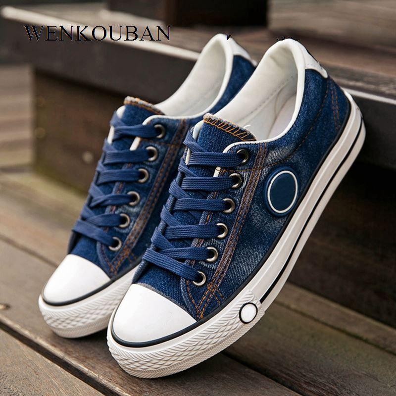 Vulcanized Shoes Women Canvas Sneakers Flat Denim Casual Shoes Women Trainers Stars Ladies Sneakers Rubber Sole Tenis Feminino