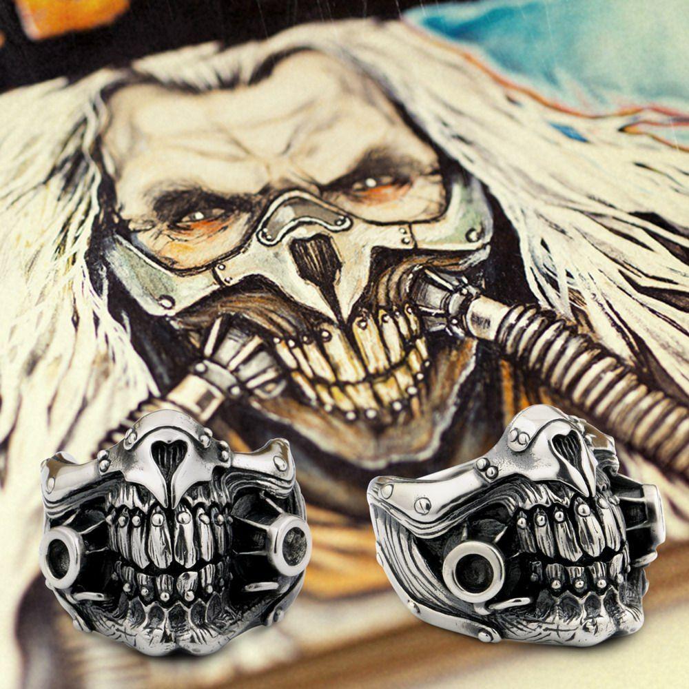 MAD MAX Immortan Джо кольцо 925 пробы серебряные мужские Байкер Череп 9Y021A
