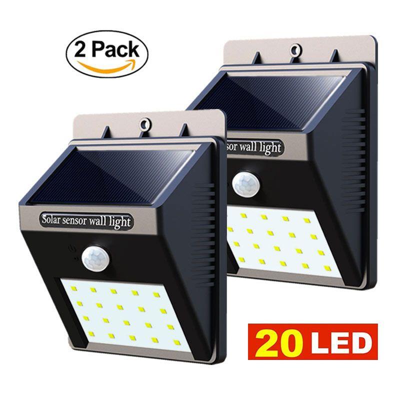 2 Pcs Led Lumière Solaire de Jardin 20 LED Motion Sensor Mur lumières Cour En Plein Air Étanche PIR Maison Rue Solaire Alimenté Lampe 2 PACK