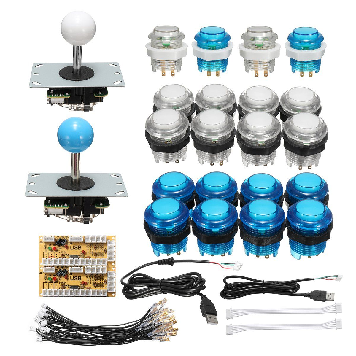 Arcade Joystick DIY Kit Parts With LED Push Button + Joystick + Zero Delay USB Encoder + Cables Game Joystick Arcade DIY Kits