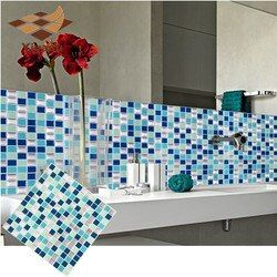 Diri Perekat Ubin Mosaik Stiker Dinding DIY Dapur Kamar Mandi Dekorasi Rumah Vinyl W1