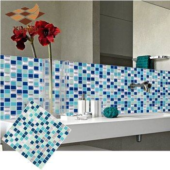 Self Adhesive Mosaic Tile Wall decal Sticker DIY Kitchen Bathroom Home Decor Vinyl W1