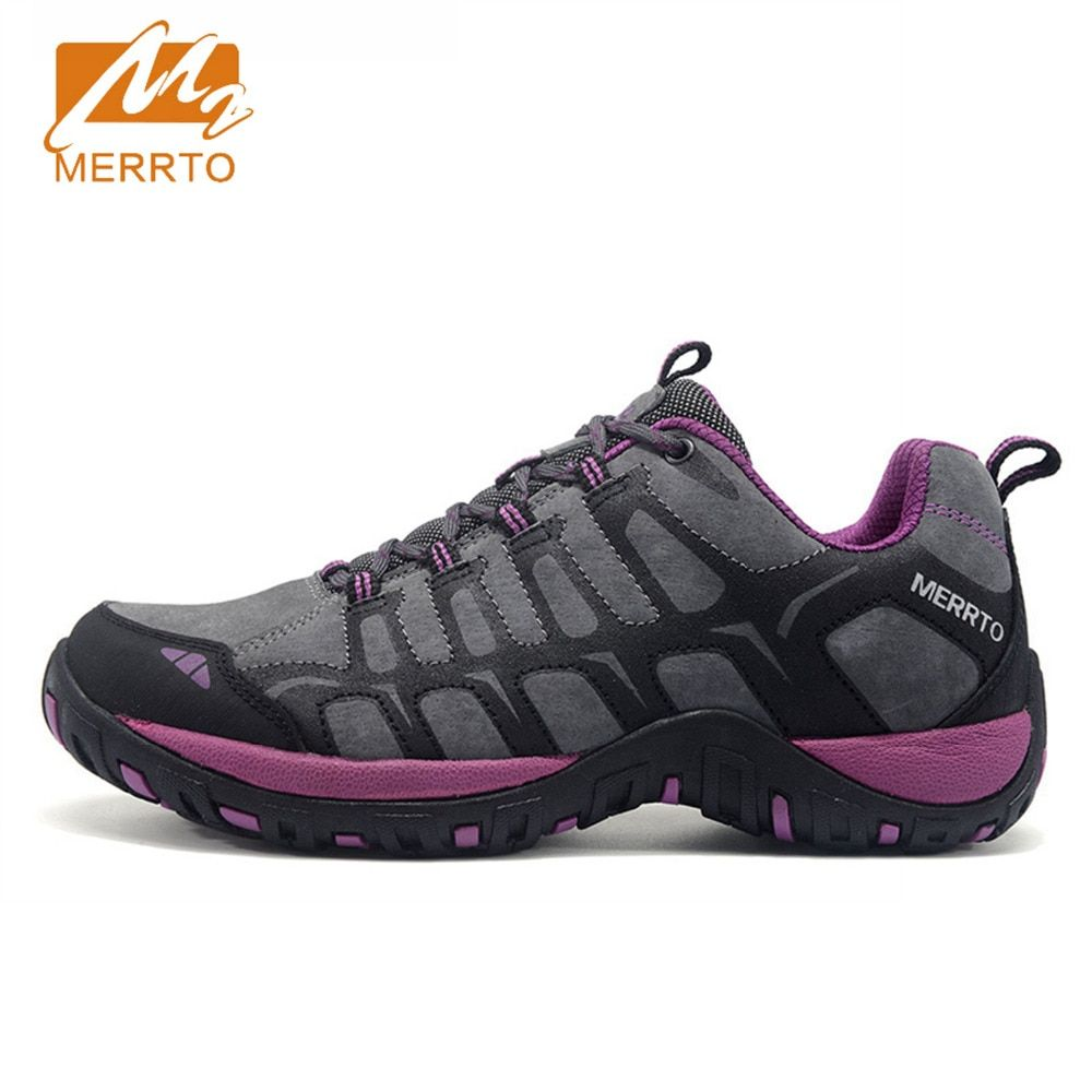 2018 Merrto Womens Walking Shoes Breathable Outdoor Sports Shoes Travel Shoes First Leather For Women Free Shipping MT18608
