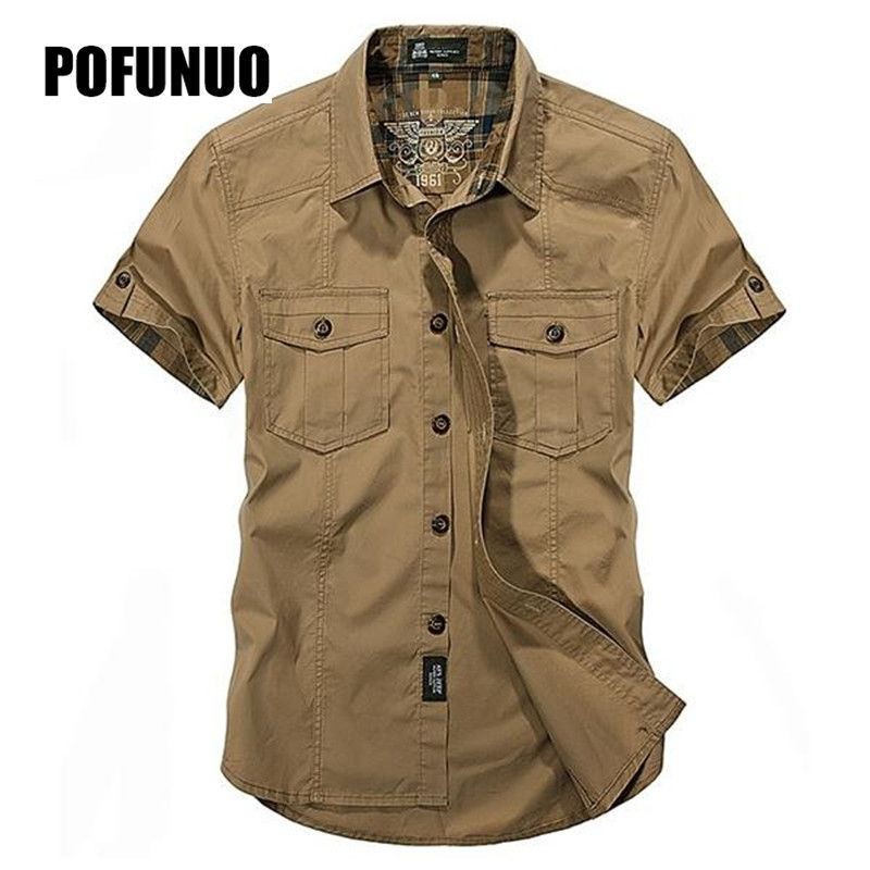 Mens Short Sleeve Shirt Cotton Fall Business Breakout Casual Breathable Multi Pockets Cargo Work Shirts for Mens size M 3XL 4XL