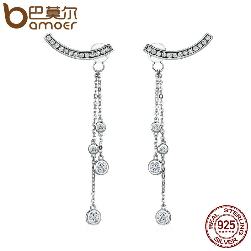 BAMOER Design New 100% 925 Sterling Silver Swinging Light Long Tassel Drop Earrings for Women Sterling Silver Jewelry SCE140