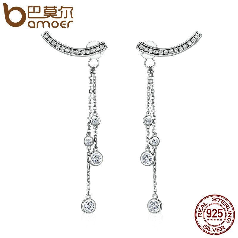 BAMOER Design New 100% 925 Sterling Silver Swinging Light Long Tassel Drop Earrings for Women Sterling Silver Jewelry SCE140
