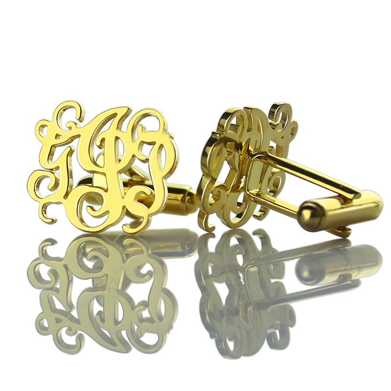 Wholesale Cut Out Monogrammed Cufflinks Gold Color  Wedding Cufflinks Personalized Initials Men Cufflinks Name Men Jewelry
