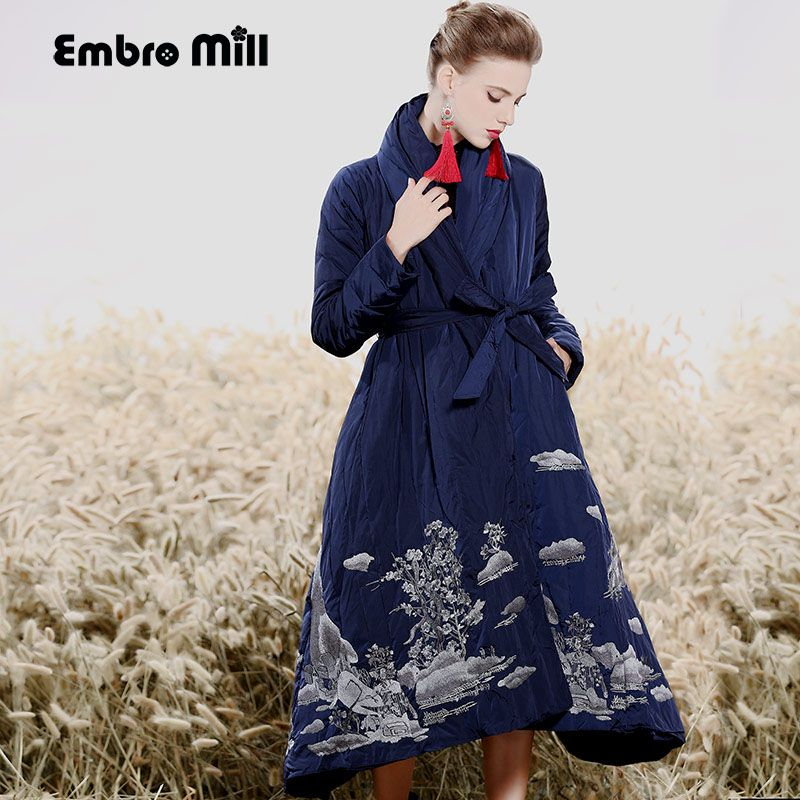 Royal embroidery Down Jacket coat women winter vintage loose lady long floral thick warm White duck Down Parkas female M-XXL