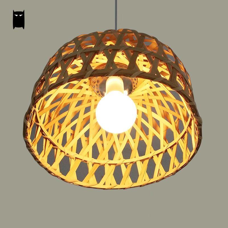 Round Natural Coffee Bamboo Wicker Rattan Basket Pendant Light Fixture Rustic Country Aisan Japanese Vintage Hanging Lamp Abajur