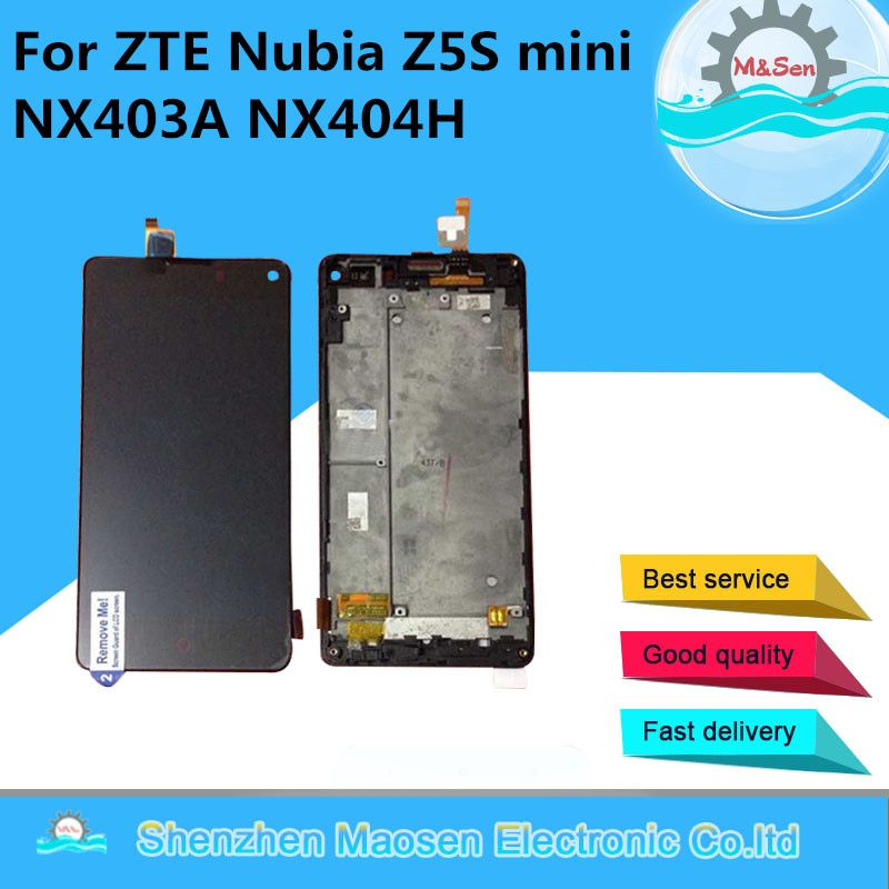 M&Sen For ZTE Nubia Z5S mini NX403A NX404H LCD screen display+touch panel digitizer with frame black free shipping
