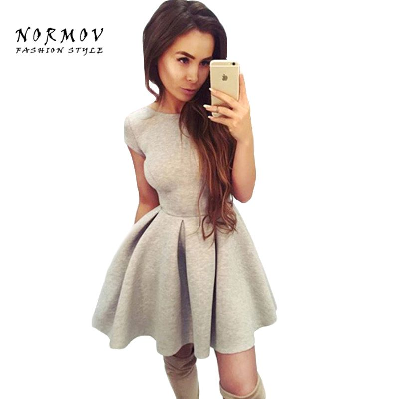 NORMOV Sexy Femmes O-cou Dos Nu Bretelles Mince Polyester Robe Mini Office Lady Grande Taille Robe Robes Robes De Festa Femmes
