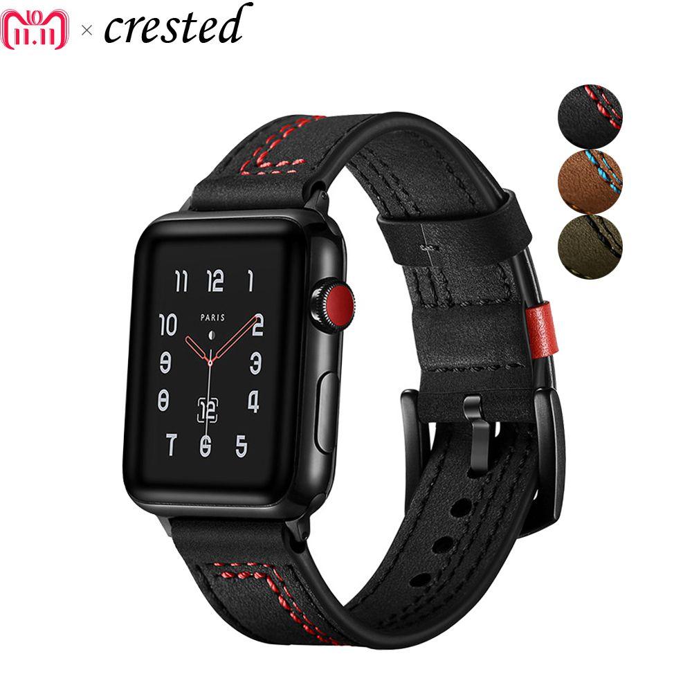 Bracelet en cuir pour apple bracelet de montre 42mm 38mm iWatch 4 bande 44mm/40mm bracelet en cuir véritable bracelet de montre montre apple 4 3 21