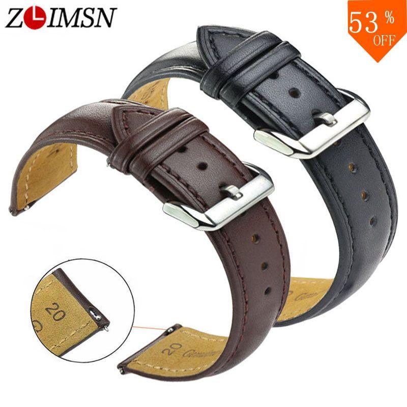 ZLIMSN nouvelle montre bracelet ceinture noir bracelets de montre en cuir véritable bracelet de montre 18mm 20mm 22mm 24mm montre accessoires bracelet