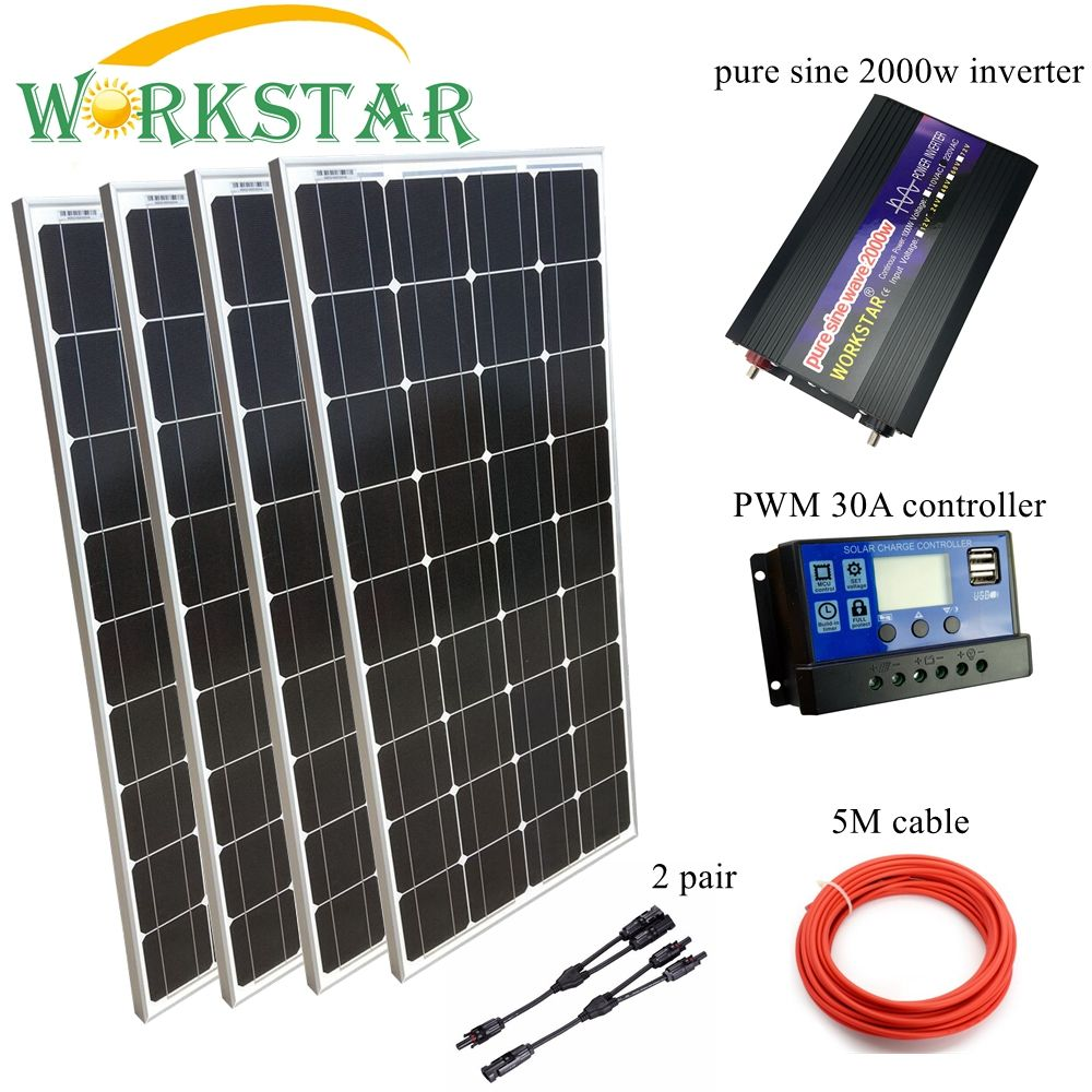 4*100W Glass Solar Panels with 30A Controller and 2000W Inverter Complete 500W Off Grid solar System Kit 20 Years Lifetime