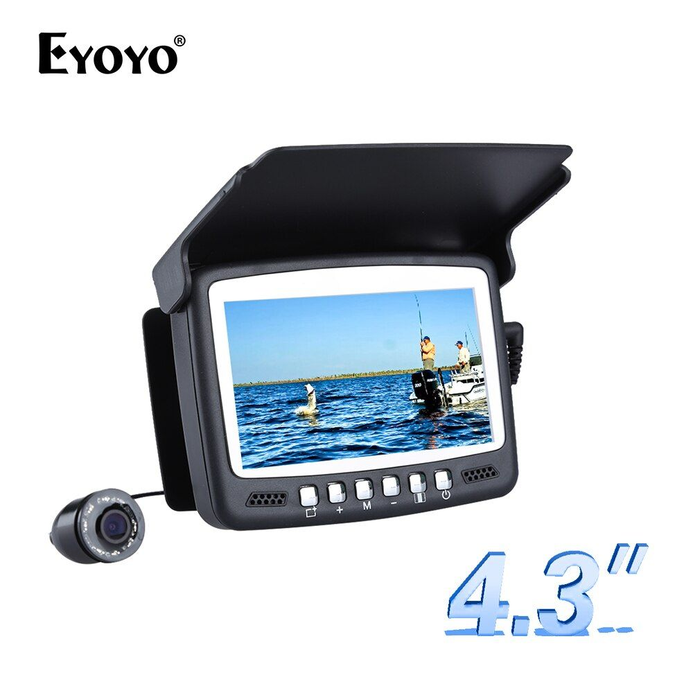 Eyoyo Original 15M Fish Finder <font><b>Underwater</b></font> Fishing Camera Fishfinder 4.3 LCD Monitor 1000TVL CAM 8pcs Infrared LED Sunvisor