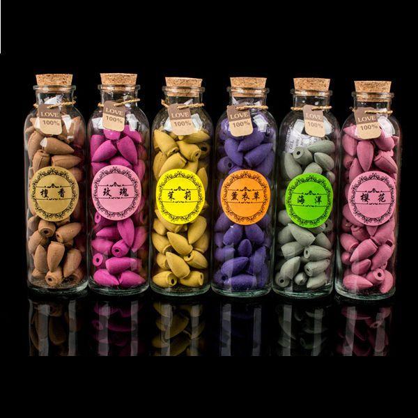 58 pièces/Bouteille Naturel Refoulement Encens Cône Grain bouteille en verre 11 Parfums Tour Inde Santal Encens