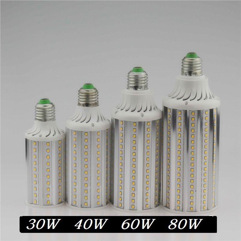 Super lumineux 30 W 40 W 60 W 80 W lampe à LED E26E27 E40 85-265 V Lampada maïs ampoules lumière pendentif éclairage lustre plafonnier