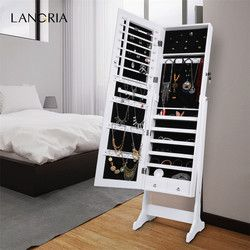 LANGRIA Fashionable Free Standing Lockable Mirrored Jewelry Lockable Organizer with Mirror for Living Room
