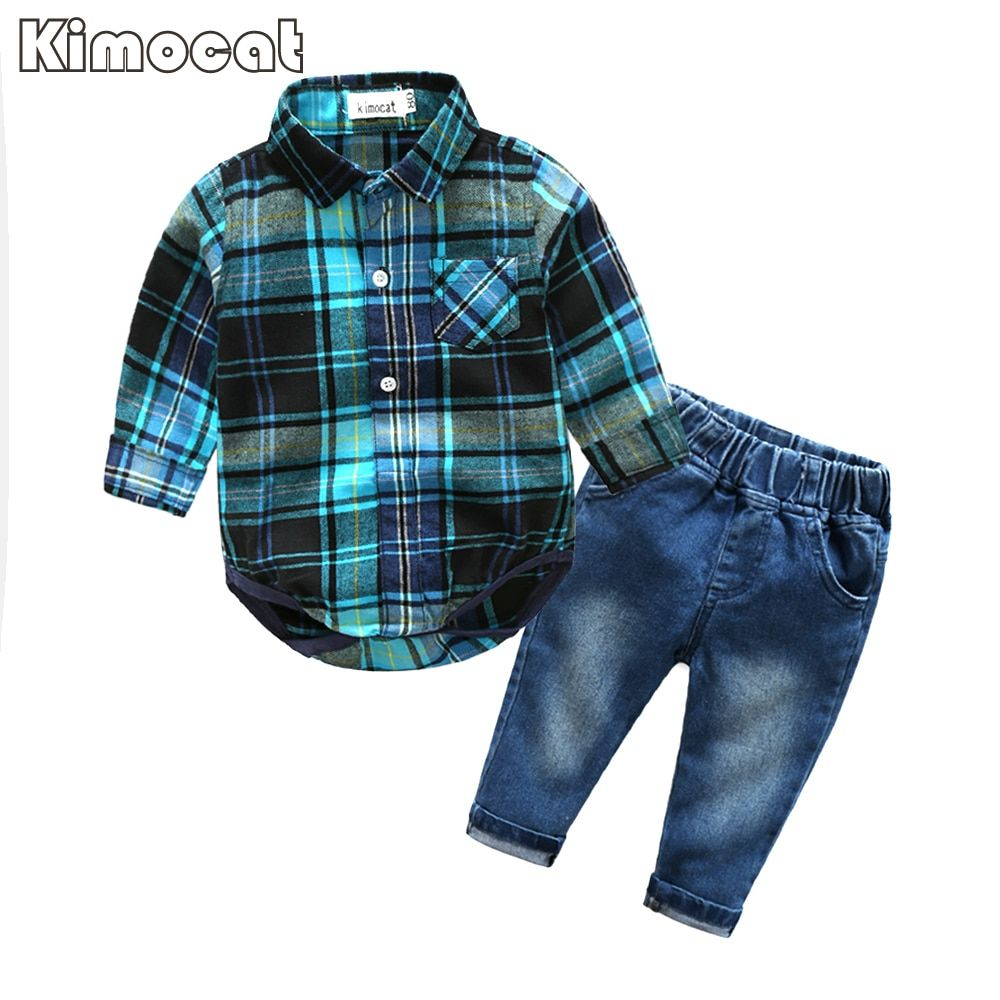 Cute Infant Baby Boy Clothes Blue Plaid jumpsuit+ Jeans Baby Long Sleeve Baby boy Clothing Set