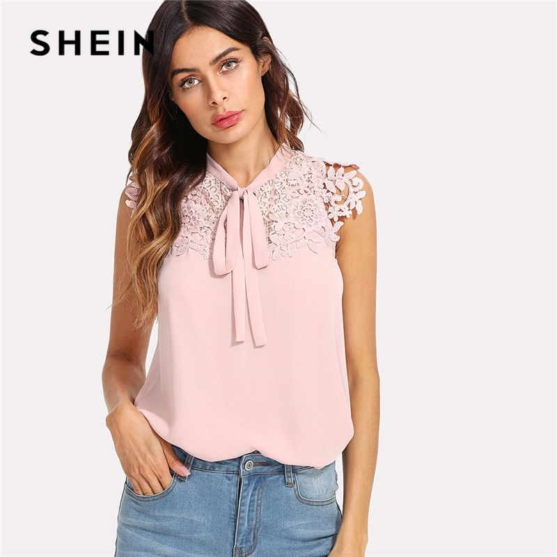 SHEIN Pink Guipure Lace Applique Tied Neck Bow Top Women Stand Collar Sleeveless Plain Blouse 2018 Summer Elegant Blouse