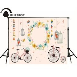 Allenjoy personalized custom wedding party photo backdrop background cage bike center wreath custom name date photocall