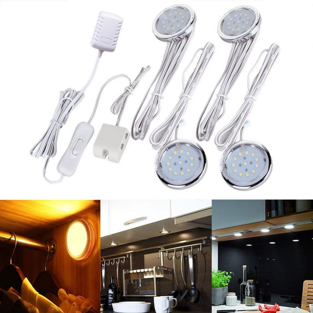 4 pack led home kitchen under cabinet light lamps for closet wall kitchen cabinet decoration lighting Lamps bulb kits AC100-240V