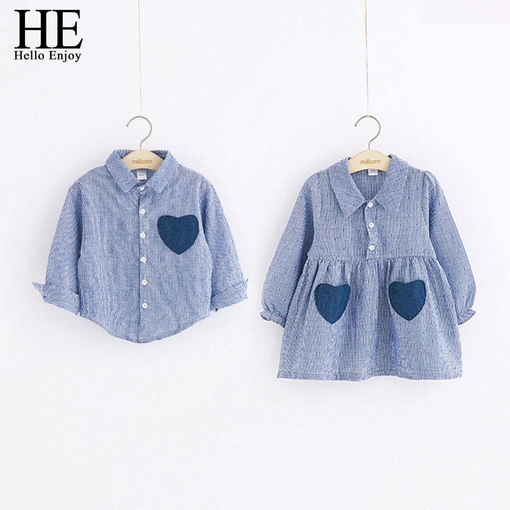 HE Hello Enjoy Girls Dresses Spring Autumn Boys Shirts Long Sleeve Love Pocket Shirts and Stripe Dress Brother And Sister Kids