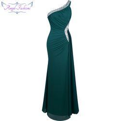 Angel-fashions Perles Une Épaule Backless Silt Pli Drapé Robe de Soirée robe de noiva 265
