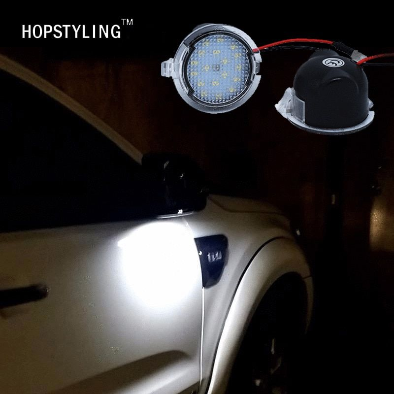 Hopstyling 2x For Ford LED Under Mirror Puddle Light F-150 EDGE Explorer Mondeo Taurus S-Max led Rear mirror Lamp Car styling