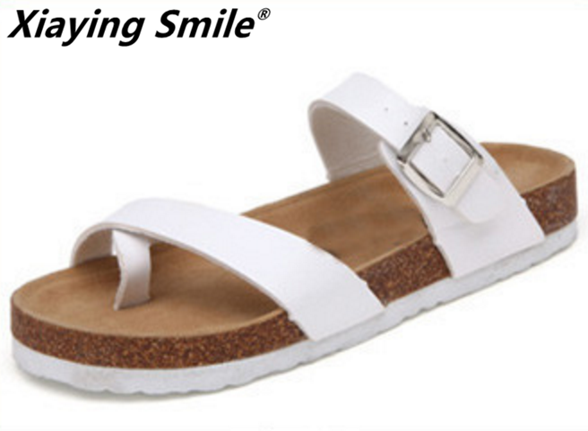 Xiaying Smile Genuine Leather Sandals Classics Solid Color Buckle Beach Shoes Fashion Casual Pinch Toe Soft Flat Summer Slippers