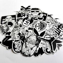 60 unids Pack azar patineta música Guitarras caja del recorrido del coche blanco y negro Decal lindo Adhesivos moda Funny sticker