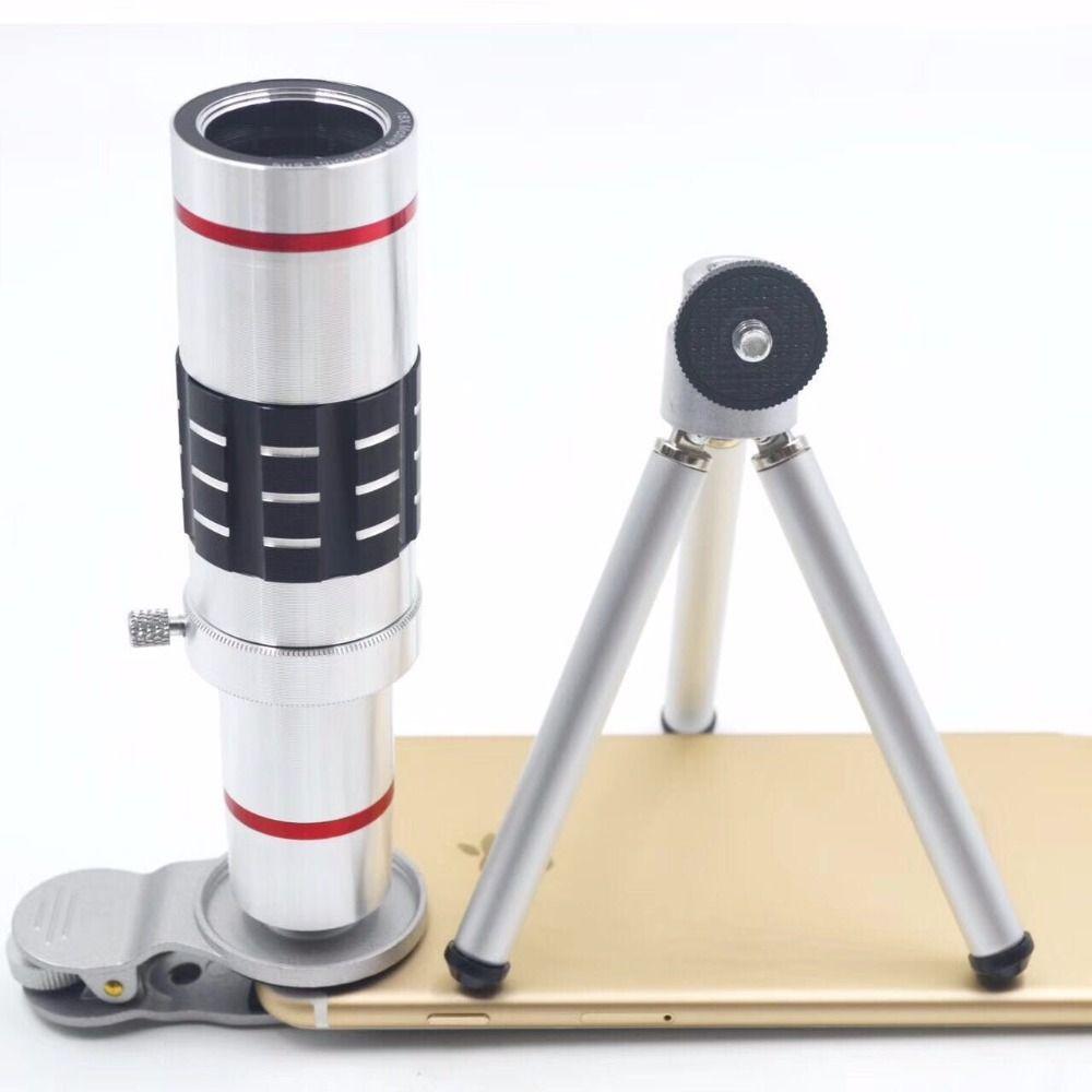 Universal Clip 4 K 18X zoom Télescope Téléobjectif Caméra Téléphone Lentilles Trépied En Aluminium Shell Pour iPhone 7 Android Mobile téléphone