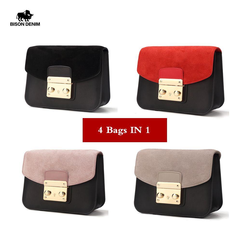 BISON DENIM Genuine Leather Women Handbags Luxury Shoulder Bags for Women 2018 Crossbody Bag Bolsa Feminina Bolsos Mujer N1240