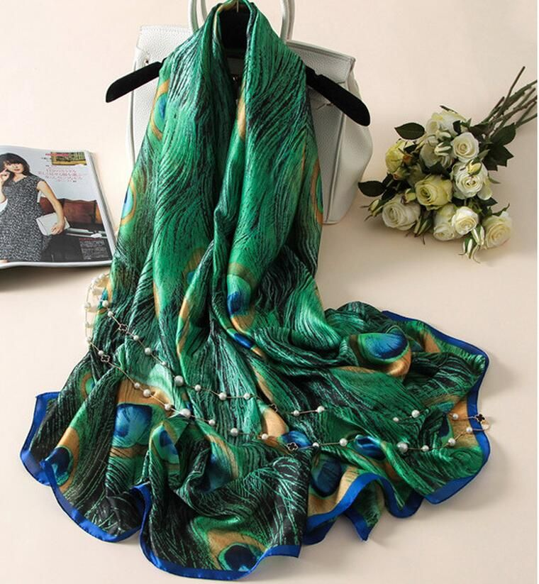 [Caban] nouveau créateur de mode foulards en soie femmes marque de luxe imprimé plumes de paon Foulard en soie