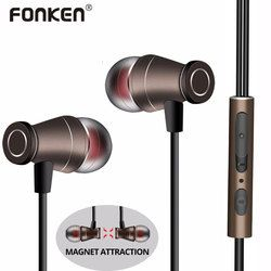 FONKEN Earphone 3.5mm In Ear Wired Metal Magnetic Earbuds HiFi Stereo Sports Headset With Mic Microphone Volume adjust for phone