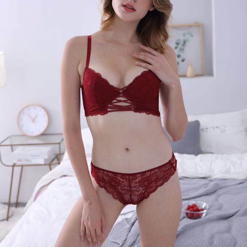 Wriufred Sense Cross with Lace Gathered Bra Set Wine Red Deep V on Thin and Thick Adjustment Women Bra Underwear Set Sexy