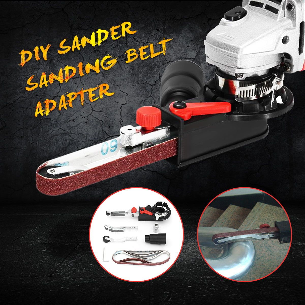 DIY Sander Sanding Belt Adapter For 115/125 Electric <font><b>Angle</b></font> Grinder with M14 Thread Spindle For woodworking Metalworking