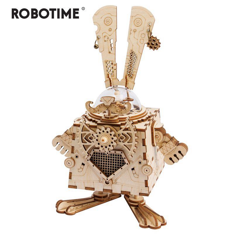 Robotime Creative bricolage 3D Steampunk lapin en bois Puzzle jeu assemblage boîte à musique jouet cadeau pour enfants adolescents adultes AM481