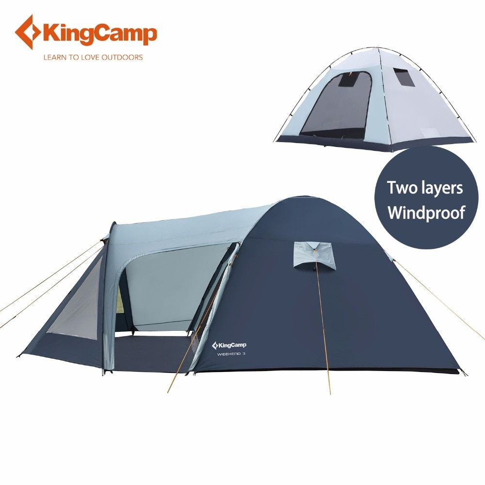 KingCamp Camping Tent Ultralight Large Space Fire-resistant 3-Person Tent Waterproof 4 Season Outdoor Tent Family Camping Carpa